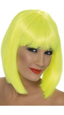 Neon Yellow Short Blunt Cut Wig With Fringe