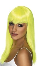 Neon Yellow Long Glamor Wig With Bangs