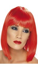 Red Blunt Cut Wig With Fringe