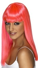 Neon Pink Long Glamor Wig With Bangs