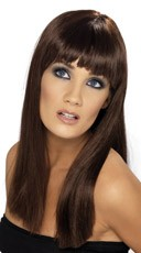 Brown Long Costume Wig With Bangs