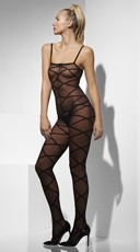 Criss Cross Mesh Bodystocking