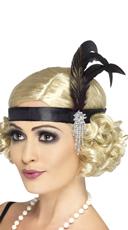 Black Charleston Flapper Headband