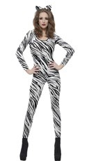 White Zebra Print Bodysuit