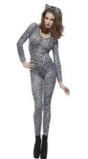White Leopard Print Bodysuit