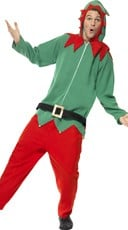 Men's Hooded Elf Jumpsuit Costume