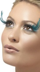 Black Lashes with Green Feather