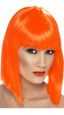 Neon Orange Blunt Cut Wig With Fringe