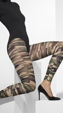 Army Print Footless Tights