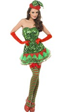 Green Sequin Naughty Elf Costume