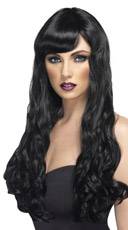 Long Black Curled Wig