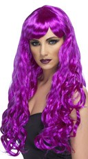 Long Neon Purple Curled Wig