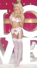 Flower Embroidery Open Bust and Garter Set