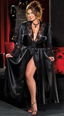 Plus Size Satin and Chiffon Robe