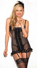 Mesh and Lace Cupless Chemise