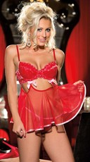Red Heart Lace and Mesh Babydoll