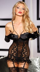 Cupless Mesh and Lace Chemise