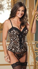 Leopard or Skull Print Corset and Bra Set