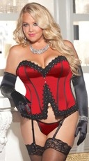 Plus Size Satin Corset with Venice Lace