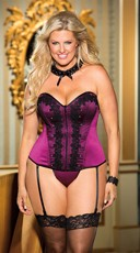 Plus Size Purple Satin Corset with Venice Lace