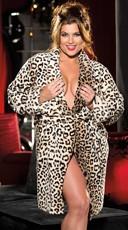 Plus Size Leopard Print Fluffy Robe