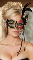 Beaded Two Tone Velvet Eye Mask with Feathers