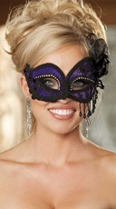 Purple Satin and Lace Eye Mask with Rhinestones