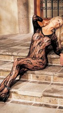 Long Sleeve V Neck Lace Bodystocking