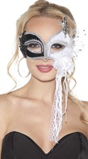 Black and White Sequin Mask