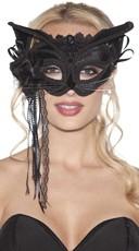 Bedazzled Black Velvet Cat Mask