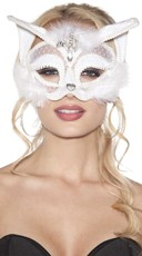 Furry White Velvet Cat Mask