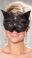 Sequined Cat Eye Mask with Rhinestones