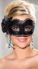 Black Sequin Eye Mask with Silver Trim
