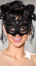 Sequin Black Cat Mask and Ears