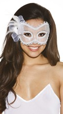 Feathered Masquerade Mask in White