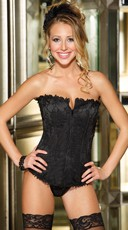Satin Corset with Lace Overlay