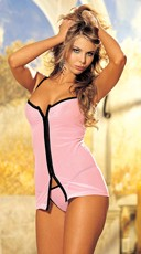 Two Piece Stretch Mesh Chemise Set