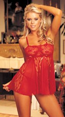 Two Piece Sheer Net Stretch Lace Babydoll PJ Set