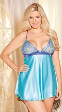 Plus Size Two Tone Embroidery And Charmeuse Chemise
