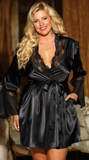 Plus Size Charming Satin Robe