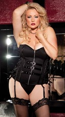Plus Size Stretch Patent Leather Corset