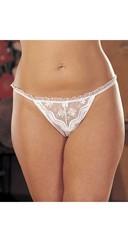 Plus Size Crotchless Thong Panty