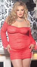 Plus Size Sheer Lace Long Sleeve Mini Dress