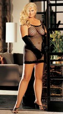 Plus Size Diamond Net Fishnet Dress with Straps