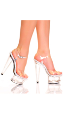 6 Inch Prism Heel Sandal with Contrasting Trim