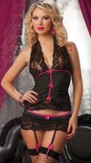 Pinstripe Halter, Garter Skirt Set