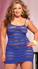 Plus Size Striped Fishnet Dress
