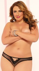 Plus Size Fishnet And Lace Trim Thong
