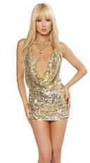 Sequin Cowl Neck Mini Dress