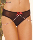 Sheer Mesh Panty with Beads and Bow
